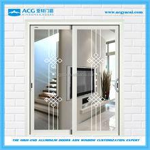 professiona interiorl sliding doors with white color aluminium and silk screen glass