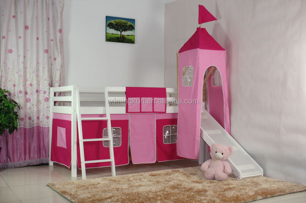 new design kid's wooden loft bed with tent set