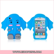 Honey Rabbit 3D Elephant Shape Silicone Protective Case for iphone 4 4S Blue