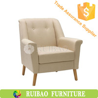 Asian Modern Oak Solid Wood Fabric Simplify Hilton Hotel Furniture Living Room One Seat Sofa/Leisure Chair