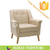 Asian Modern Oak Solid Wood Fabric Simplify Hilton Hotel Furniture Living Room One Seat Sofa/Leisure Chair