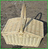 Rectangular Steamed Willow Picnic Basket With Cover And Liner