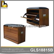Walnut shoe rack designs wooden shoe cabinet with sofa