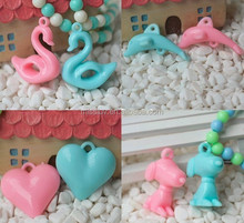 acrylic heart cartoon animal baby pendant children jewelry accessories little girl plastic bead charms