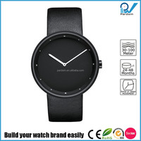 Wrist watch in 18/10 stainless steel mat with leather strap black watch cufflinks