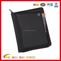 Leather Zippered Tablet Portfolio, Business Executive A4 Black Leather Conference Folder Portfolio with Elastic Band for USB
