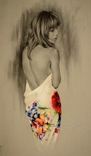 Beautiful women nude black art oil paintings on canvas for home decoration