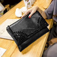 2015 New Soft Leather Envelope Clutch Bag With Studs Rivets (XJCV008)