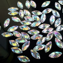 100pcs Clear AB Sew On Acrylic Crystal Diamante Rhinestone Navette Shape