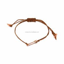 Gold Tone Safety Pin Charm Cotton Cord Adjustable Bracelet