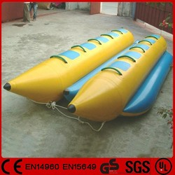 Hot sale inflatable water double tube banana boat for 10 person