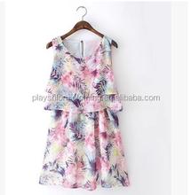 New Fashion Printed Chiffon Women Dress Sleeveless Multilayer Dress