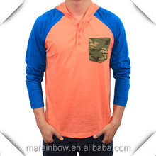 Lightweight Men's Raglan Sleeve Contrast Colors Hoodies with Camo Chest Pocket,Men's Salmon and Royal Blue Hooded Pullover Shirt