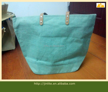 Green Blank jute tote bag with zipper