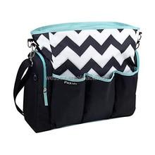 Boy Girl Black Chevron Diaper Bag Multiple Organizer Pockets Baby Bag Large and Roomy Baby Diaper Tote Bag