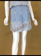 Original Design China Factory Ladies Floral Embroidery Denim Casual Skirts