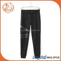 Sport Pants Women pantalones Black Sweatpants Leather Patchwork Casual Pants with Fleece Wholesale