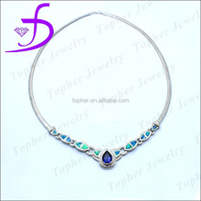 shiny opal long necklace silver 925 amethyst necklace fashion long chain necklace