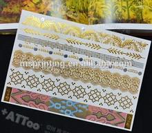 Fake metallic gold temporary tattoo kit