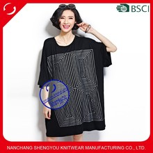 Custom wholesale fashion design black long line oversized t shirt women