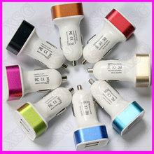 5V 2.1A/5V 3.1A OEM Colorful 2 port usb car charger for Mobile Phone 2 port usb car charger