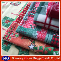 100% polyester christmas printed two side brush fleece fabric