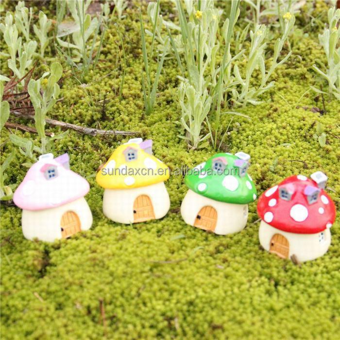 Pas cher r sine mini maison de champignons figurines Figurine pour jardin