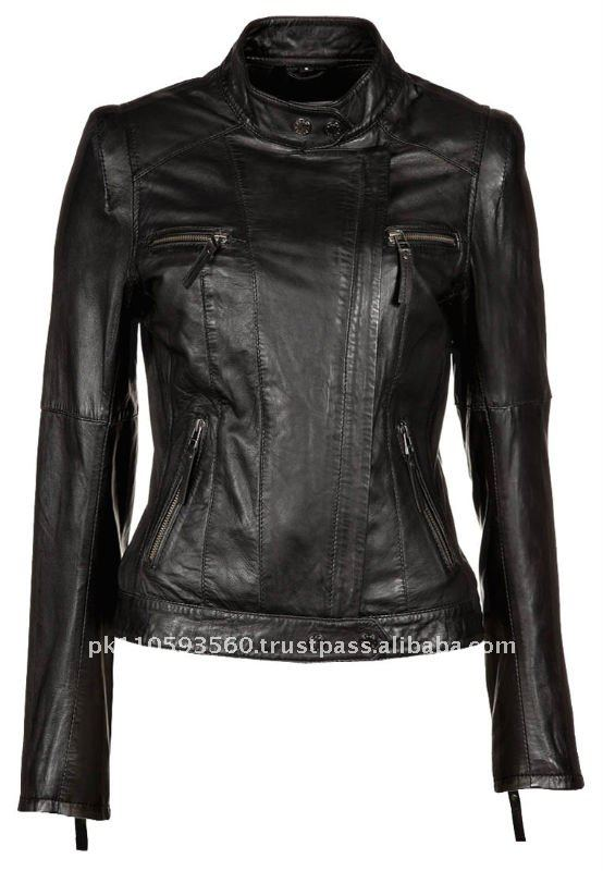 New 2012 Womens Black Color Leather Jacket - Buy Leather JacketPunk Leather JacketWomenu0026#39;s ...