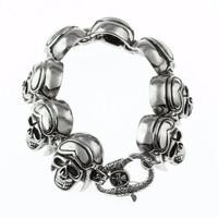 big heavy stainless steel skull head bracelet poker bracelets
