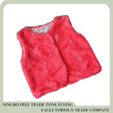 Ningbo Flying eagle high quality 100% polyester faux fur girls vest