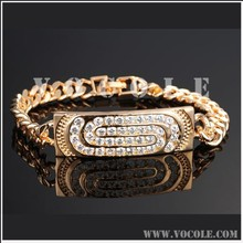 2014 popular style stainless steel with inlaid shining zircon diamond chain bracelet
