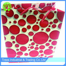 Rose red polka dot art paper shopping bag