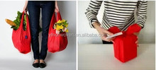2015 red vagatable color Promotional foldable shopping tote bags, made of polyester, silkscreen printing, strawberry style