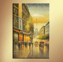 Impressionist Paris Street Scene Canvas Oil Painting
