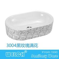 3004 black color glaze oval shape table top face washbasin design