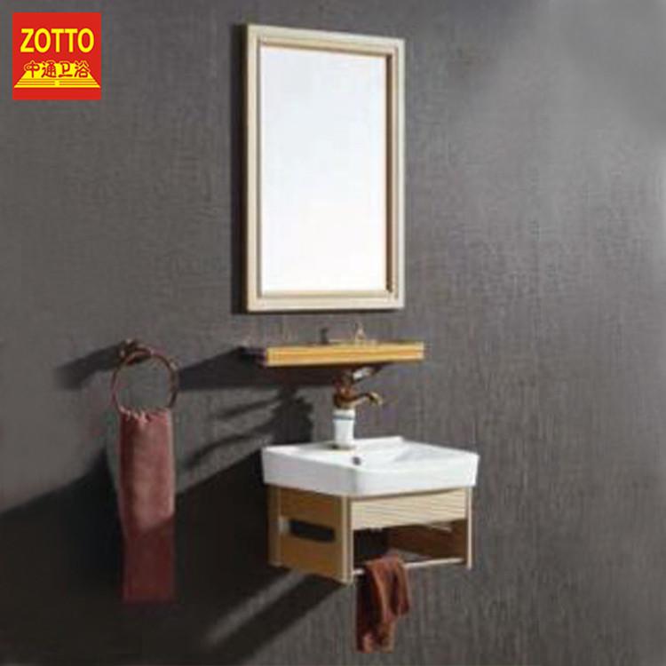 Marca cerámica montado en la pared muebles de baño vanidad lavabo gabinete espejo del baño hecho en China