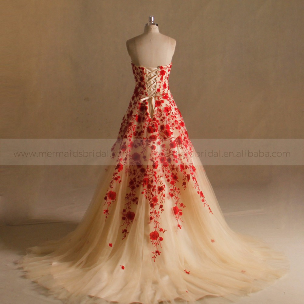 A Line Lace Red Gold Wedding Dress Pictures - Buy Red Gold Wedding ...