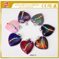 wholesale Natural Seven Chakra Heart Crystal Pendant 14SN0171 with 7 Color Gemstone