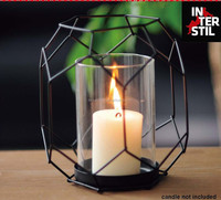 6A222-S NET SHAPE METAL STAND/CANDLE HOLDER WITH GLASS PIPE/BLACK METAL CANDLE HOLDER