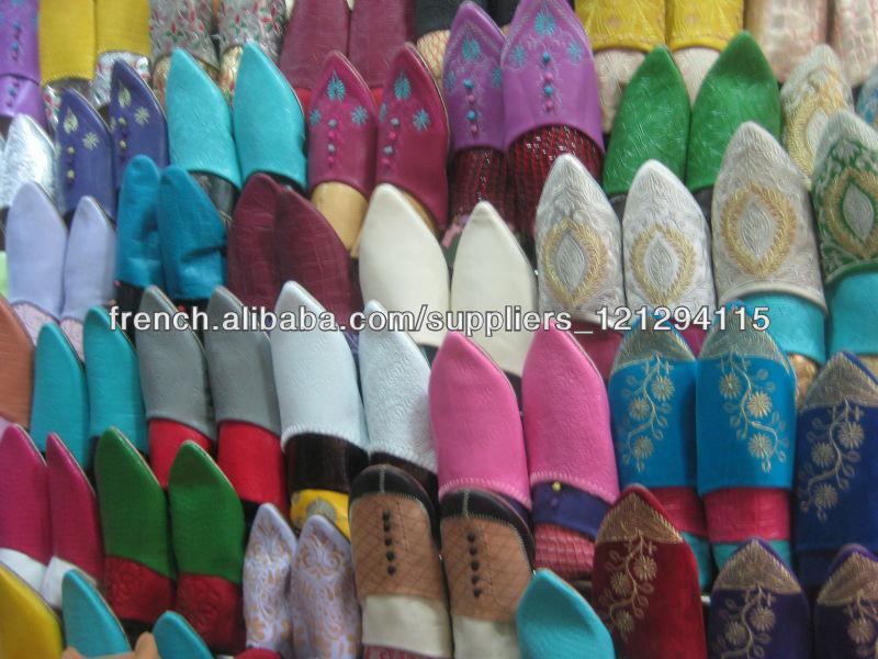 Babouche Pompons cuir noir marocaine chausson pantoufle mules