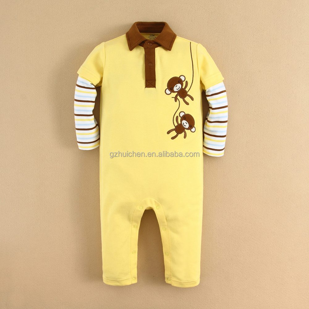 MOMANDBAB Long Sleeves Baby Rompers 100% Cotton Fashion Embroider Long Sleeve Bodysuit,Baby Clothes(14292)