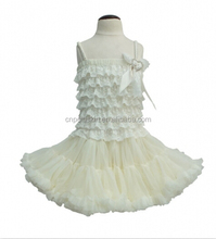 2015 elegance new arrival girls summer clear white color Multi-level kids clothing wholesale baby girl bouquet tutu show dress