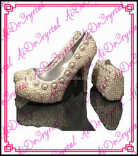 Aidocrystal ivory pearls with crystal pumps white bridal party shoes and bag set