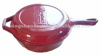 cast iron sauce pan with fry pan as lid/double used