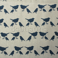 Burlap Fabric Deep blue Bird Pattern 160cm x 100cm,1M