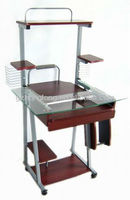 glass metal computer desk