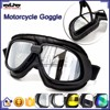 BJ-GT-007 New Arrival Black Leather Goggles Motorcycle with Clear Lens