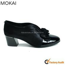 Mk084-1 graciosa preto calçados femininos salto baixo sapatos gentlewoman