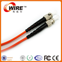 Customized Single Mode Duplex 2 Core 10M ST 2MM Fiber Optic Cable Patch Cord