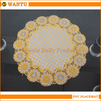 WT-301C Jinhua Fucun Shentangwu Wantu Plastic Wholesale Dinner Table Oval and Gold PVC Mat
